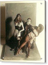Artist 2 Models In Black Lingerie Acrylic Print by Harry WEISBURD
