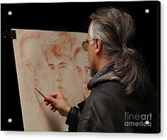 Artist At Work Florence Italy Acrylic Print by Bob Christopher