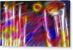 Artist Brushes - Paint Mess Composite - Fractal Acrylic Print by Steve Ohlsen