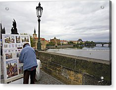 Artist On The Charles Bridge - Prague Acrylic Print by Madeline Ellis
