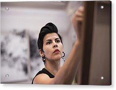 Artist Painting In Her Studio Acrylic Print by Scott Zdon