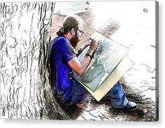 Artist Under A Tree Acrylic Print by John Haldane