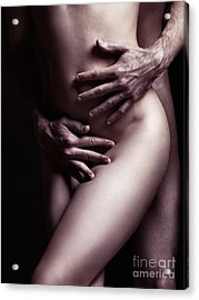Artistic Closeup Sexy Nude Couple Embracing Acrylic Print by Oleksiy Maksymenko