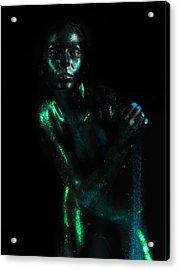 Artistic Nude  Green Skin  Acrylic Print by Dan Comaniciu