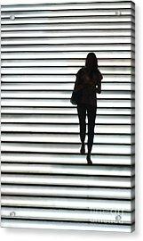 Artistic Silhouette Girl Walking Down Acrylic Print
