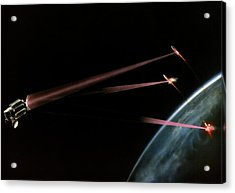 Artist's Impression Of Space-based Sdi Laser Acrylic Print by Us Department Of Energy / Science Photo Library