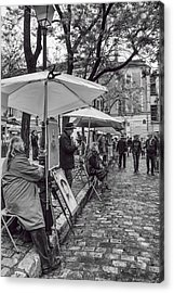 Artists In Montmartre Acrylic Print by Georgia Fowler
