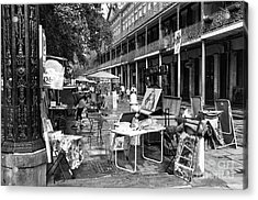 Artists In The Square Mono Acrylic Print by John Rizzuto