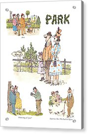 Artist  Which Thing Do I Press?   Mysterious Man Acrylic Print by William Steig