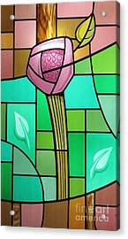 Acrylic Print featuring the glass art Arts And Crafts Rose by Gilroy Stained Glass