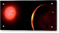 Artwork Of Red Dwarf And Orbiting Planet Acrylic Print by Mark Garlick