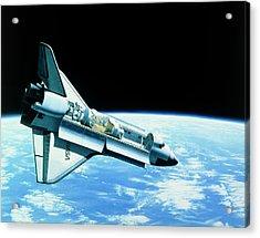 Artwork Of Space Shuttle In Orbit Acrylic Print