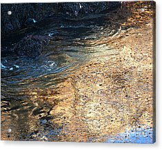As The Ocean Wave Swirled It Looked Like Gold Acrylic Print by Artist and Photographer Laura Wrede