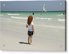 As The Sail Boat Rolls By Acrylic Print