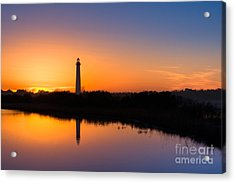 As The Sun Sets And The Water Reflects Acrylic Print