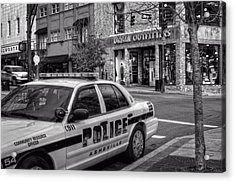 Asheville Pd Car 54 In Black And White Acrylic Print