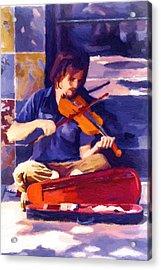 Asheville Street Concerto Acrylic Print by John Haldane