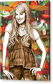 Ashley Tisdale - Stylised Drawing Art Poster Acrylic Print by Kim Wang