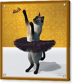 Asian Design Blue Siamese Ballet Cat On Paw-te  Acrylic Print by Andre Price
