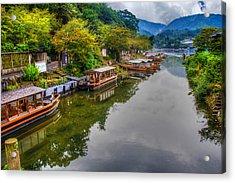 Asian Pleasure Boats Wait On The River Hozu In Japan Acrylic Print by Laura Palmer