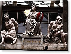 Asmterdam Statues Acrylic Print by John Rizzuto