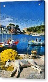 Asos Village In Kefallonia Island Acrylic Print by George Atsametakis