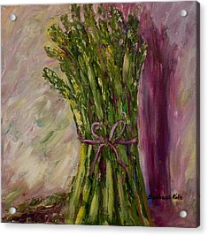 Asparagus Wrapped In A Bow Acrylic Print by Barbara Pirkle