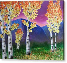 Aspens And Mountains IIi Acrylic Print by Elizabeth Golden
