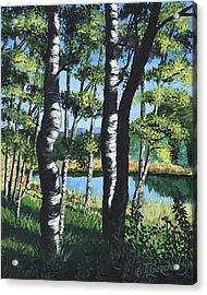 Aspens And Pond Acrylic Print