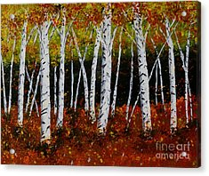Aspens In Fall 3 Acrylic Print by Melvin Turner