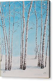 Aspens In Snow Acrylic Print by Melvin Turner