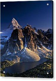 Assiniboine And Sunburst Peak At Sunset Acrylic Print