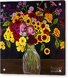 Assorted Flowers In A Glass Vase By Alison Tave Acrylic Print by Sheldon Kralstein