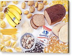 Assorted Foods Containing Carbohydrates Acrylic Print by Martyn F. Chillmaid