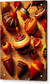 Assorted Toy Tops Acrylic Print by Garry Gay