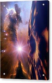 Asteroid And Eagle Nebula Acrylic Print