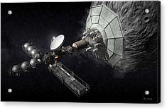 Acrylic Print featuring the digital art Asteroid Mining And Processing by Bryan Versteeg