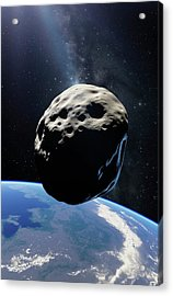 Asteroid Passing Earth Acrylic Print by Detlev Van Ravenswaay