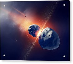 Asteroids Collide And Explode  In Space Acrylic Print by Johan Swanepoel