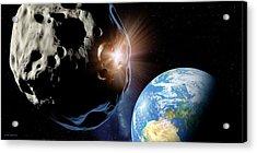 Asteroids Colliding Near Earth Acrylic Print by Detlev Van Ravenswaay