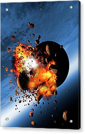 Asteroids Colliding With A Planet Acrylic Print by Victor Habbick Visions