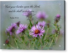 Asters With Scripture Acrylic Print