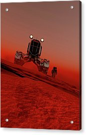 Astronaut And Vehicle On Mars Acrylic Print by Victor Habbick Visions