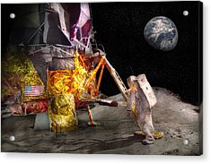 Astronaut - One Small Step Acrylic Print by Mike Savad