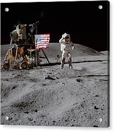 Astronaut Saluting The American Flag During Apollo 16 Mission Acrylic Print by Celestial Images