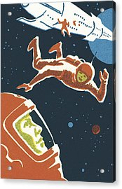 Astronauts In Outer Space Acrylic Print by CSA-Printstock