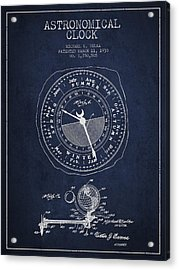 Astronomical Clock Patent From 1930 Acrylic Print by Aged Pixel
