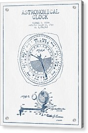 Astronomical Clock Patent From 1930  - Blue Ink Acrylic Print by Aged Pixel