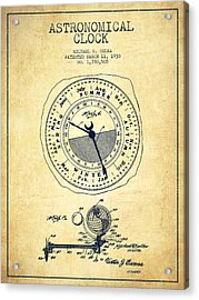 Astronomical Clock Patent From 1930 - Vintage Acrylic Print by Aged Pixel
