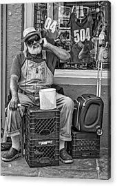 At His Office - Grandpa Elliott Small Bw Acrylic Print by Steve Harrington